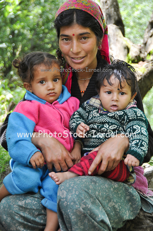 Indian Family, mother with two children Jodhpur, Rajasthan, India