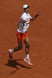 May 7, 2019 - Madrid, Spain - Novak Djokovic of Serbia in action against Taylor Fritz of USA during day four of the Mutua Madrid Open at La Caja Magica on May 07, 2019 in Madrid, Spain  (Credit Image: © Oscar Gonzalez/NurPhoto via ZUMA Press)