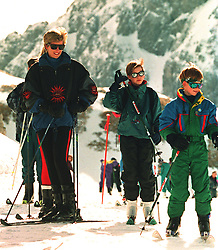 The Princess of Wales with her two sons William and Harry on the slopes at Lech, Austria.