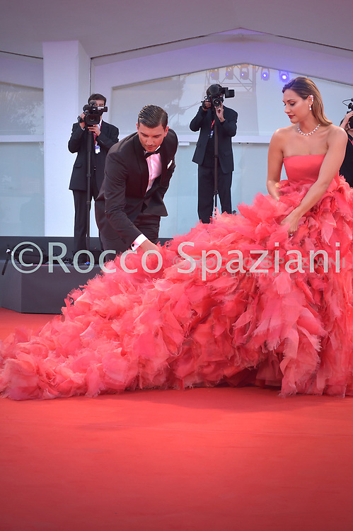 """VENICE, ITALY - SEPTEMBER 04:Beatrice Valli ,Marco Fantini  walks the red carpet ahead of the movie """"Padrenostro"""" at the 77th Venice Film Festival at on September 04, 2020 in Venice, Italy."""