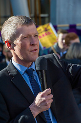 Pictured: Willie Rennie SLeader Scottish Lib Dem party<br /> University pensions row rally was held outside the Scottish Parliament in Edinburgh today. University staff were joined by politicians and students as part of the strike action event. <br /> <br /> Ger Harley | EEm 8 March 2018