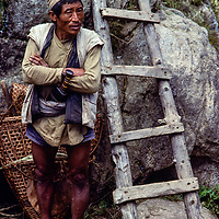 A Tamang villager from lowland Nepal at the weekly market in Namche Bazar, Khumbu Region, Nepal 1980