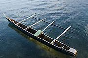 Local Outrigger dugout canoe<br /> Biak Island<br /> West Papua<br /> Indonesia<br /> Fishing canoe