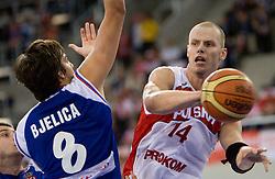 Nemanja Bjelica of Serbia vs Maciej Lampe of Poland during the EuroBasket 2009 Group F match between Poland and Serbia, on September 12, 2009 in Arena Lodz, Hala Sportowa, Lodz, Poland.  (Photo by Vid Ponikvar / Sportida)