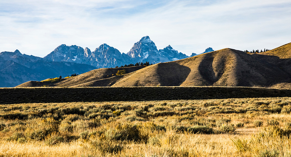 The Teton range and part of Blacktail Butte from near Gros Ventre Campground, Wyoming, USA.