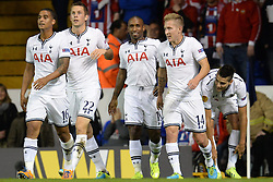 19.09.2013, White Hart Lane, London, ENG, UEFA Champions League, Tottenham Hotspur vs Toromsoe IL, Gruppe K, im Bild Tottenham's Jermain Defoe celebrates with his team mates after scoring a goal  during UEFA Champions League group K match between Tottenham Hotspur vs Toromsoe IL at the White Hart Lane, London, United Kingdom on 2013/09/19 . EXPA Pictures © 2013, PhotoCredit: EXPA/ Mitchell Gunn <br /> <br /> ***** ATTENTION - OUT OF GBR *****