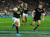 Rugby Union - 2019 Rugby Championship - New Zealand vs. South Africa<br /> <br /> Willie le Roux os S Africa and Beauden Barrett of NZ, at Westpac Stadium, Wellington.<br /> <br /> COLORSPORT/ANDREW COWIE