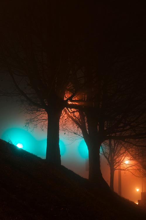 Fog along Kanawha Boulevard in Charleston W.Va., on Thursday night, January 11, 2018.
