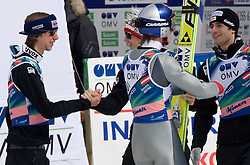 Team World Champions (from L) KOCH Martin, MORGENSTERN Thomas, SCHLIERENZAUER Gregor and LOITZL Wolfgang of winning team of Austria celebrate after Flying Hill Team Second Round at 4th day of FIS Ski Flying World Championships Planica 2010, on March 21, 2010, Planica, Slovenia.  (Photo by Vid Ponikvar / Sportida)
