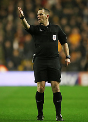 """Referee Tim Robinson during the Sky Bet Championship match at Molineux, Wolverhampton. PRESS ASSOCIATION Photo. Picture date: Wednesday April 11, 2018. See PA story SOCCER Wolves. Photo credit should read: Nick Potts/PA Wire. RESTRICTIONS: EDITORIAL USE ONLY No use with unauthorised audio, video, data, fixture lists, club/league logos or """"live"""" services. Online in-match use limited to 75 images, no video emulation. No use in betting, games or single club/league/player publications."""