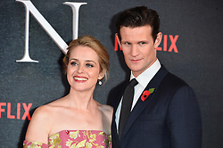 © Licensed to London News Pictures. 01/12/2016. CLAIRE FOY and MATT SMITH attend the TV premiere of the new Netflix series The Crown about the reign of Queen Elizabeth II. London, UK. Photo credit: Ray Tang/LNP