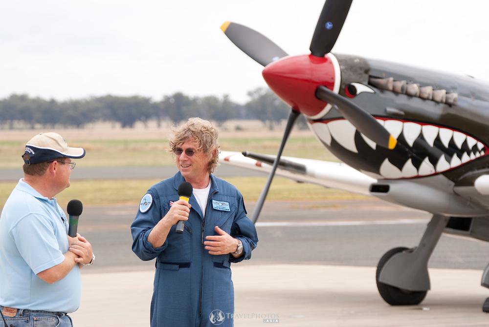 David Lowy (AM) after performing aerobatic maneuvers in a Supermarine Spitfire Mk.VIII, Grey Nurse at the Temora Air Museum