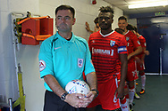 Referee Eddie Ilderton in the tunnel during the EFL Sky Bet League 1 match between Rochdale and Gillingham at Spotland, Rochdale, England on 23 September 2017. Photo by Daniel Youngs.