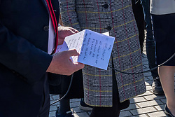 Pictured: Richard Leonard checks his speaking notes<br /><br />Richard Leonard, leader of Scottish labour, Patrick Harvie, co-leader of the Scotrtish Greens, joined other MSPs and memberes of the RMT union today to protest against Abellio contract. The rail union were demonstrating outside the Scottish Parliament in a call for the termination of privateer Abellio ScotRail's contract.<br /><br />Ger Harley | EEm 2 October 2019