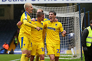 AFC Wimbledon defender Ryan Delaney (21) celebrating after scoring goal during the EFL Sky Bet League 1 match between Southend United and AFC Wimbledon at Roots Hall, Southend, England on 12 October 2019.
