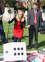 Cat Smith MP At the  photocall the  took place in Parliament Square to mark Nazanin Zaghari-Ratcliffe's 2000th day of being detained in Iran, A giant snakes and ladders board was used to show the ups and downs of Nazanin's case photo by Leigh Bruin