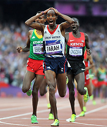 File photo dated 11-08-2012 of Great Britain's Mo Farah wins the Men's 5000m Final during Day 15 of the London 2012 Olympics at the Olympic Stadium, London.