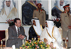 Nov. 21, 1990 - Saudi Arabia - Saudi Arabia - November 21, 1990 -- United States President George H.W. Bush and King Fahd of Saudi Arabia participate in an Arrival Ceremony in the Royal Pavilion in Saudi Arabia on November 21, 1990.   They met to discuss the situation in Iraq and Kuwait. .Credit: White House via CNP (Credit Image: © White House/CNP/ZUMAPRESS.com)