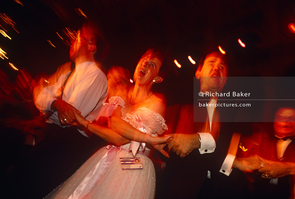 Delegates sing Auld Lang Syne at the annual Tory Party Conference of 1991 at Blackpool during premiership of  John Major
