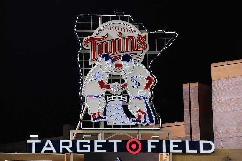 MINNEAPOLIS - MAY 11:  A general view of the Minnesota Twins neon logo at Target Field as 38, 764 fans watch the Minnesota Twins play the Chicago White Sox at Target FIeld in Minneapolis, Minnesota on May 11, 2010..  The White Sox defeated the Twins 5-1.  (Photo by Ron Vesely)