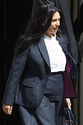 Downing Street, London, May 17th 2016. Employment Minister Priti Patel leaves the weekly cabinet meeting in Downing Street.