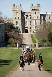 The Kings Guard on the Long Walk in Windsor ahead of the funeral of Prince Philip, The Duke of Edinburgh.<br />Credit: Doug Peters/EMPICS