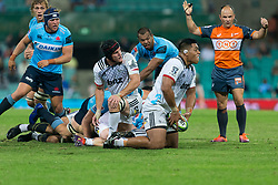 March 23, 2019 - Sydney, NSW, U.S. - SYDNEY, NSW - MARCH 23: Crusaders player Michael Alaalatoa (3) plays a pass off the ground at round 6 of Super Rugby between NSW Waratahs and Crusaders on March 23, 2019 at The Sydney Cricket Ground, NSW. (Photo by Speed Media/Icon Sportswire) (Credit Image: © Speed Media/Icon SMI via ZUMA Press)