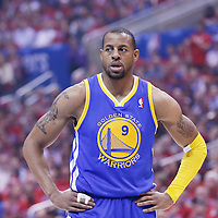 21 April 2014: Golden State Warriors forward Andre Iguodala (9) rests during the Los Angeles Clippers 138-98 victory over the Golden State Warriors, during Game Two of the Western Conference Quarterfinals of the NBA Playoffs, at the Staples Center, Los Angeles, California, USA.