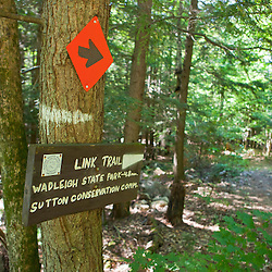 A trail sign on the Link Trail (a.k.a Lincoln Trail) to Mount Kearsarge in Sutton, New Hampshire. Part of the Sunapee - Ragged - Kearsarge Greenway.