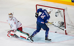 Kevin Lalande of Belarus vs Stephane da Costa of France at penalty shots during the 2017 IIHF Men's World Championship group B Ice hockey match between National Teams of France and Belarus, on May 12, 2017 in AccorHotels Arena in Paris, France. Photo by Vid Ponikvar / Sportida