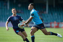 March 17, 2018 - Sydney, NSW, U.S. - SYDNEY, NSW - MARCH 18: Waratahs player Israel Folau (14) passes the ball at round 5 of the Super Rugby between Waratahs and Rebels at Allianz Stadium in Sydney on March 18, 2018. (Photo by Speed Media/Icon Sportswire) (Credit Image: © Speed Media/Icon SMI via ZUMA Press)