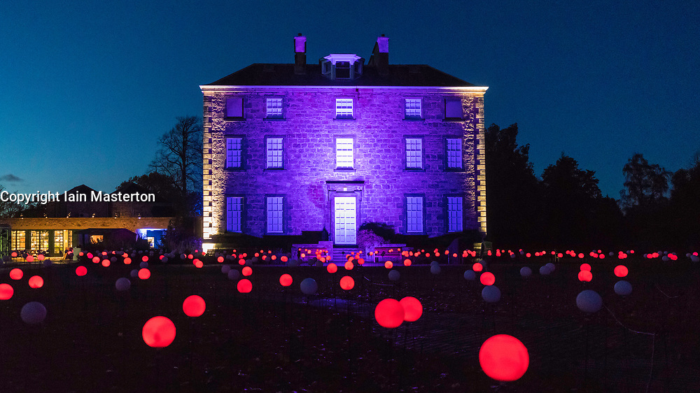Edinburgh's newest festive event, Christmas at the Botanics, opened this evening . The illuminations are  held inside Edinburgh Royal Botanic Gardens.  Inverleith House is surrounded by spheres of light in the Bloom display.