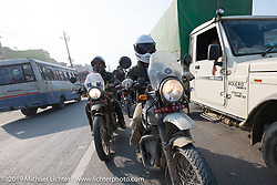 Biltwell's mechanic and special projects guy Rob Galan of Rouserworks riding a Royal Enfield Himalayan back into Kathmandu at the end of Motorcycle Sherpa's Ride to the Heavens motorcycle adventure in the Himalayas of Nepal. Riding from Daman back to Kathmandu. Wednesday, November 13, 2019. Photography ©2019 Michael Lichter.