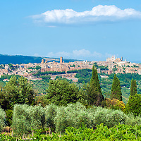 Orvieto. Umbria. Italy. Panoramic view of the enchanting medieval city of Orvieto, which stands high on an enormous tufa rock, dominating the lush green valley below it.