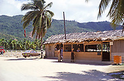 Small simple departure airport terminal building, Seychelles, Indian Ocean 1980 possibly Praslin