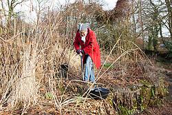 Carol Klein starting to clear a border in Annie's garden