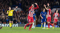 Football - 2017 / 2018 UEFA Champions League - Group C: Chelsea vs. Atletico Madrid<br /> <br /> \Atletico players show their frustration at the referee after he gives another free kick to Chelsea at Stamford Bridge.<br /> <br /> COLORSPORT/DANIEL BEARHAM