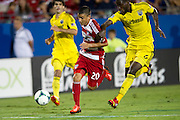 FRISCO, TX - SEPTEMBER 29:  Mauro Diaz #20 of FC Dallas controls the ball against the Columbus Crew on September 29, 2013 at Toyota Stadium in Frisco, Texas.  (Photo by Cooper Neill/Getty Images) *** Local Caption *** Mauro Diaz