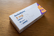 A detailed view of a box of 5mg Amlodipine manufactured by the pharmaceutical Sandoz, a Novartis company, on 1st March 2021, in London, England. Amlodipine is known as a Calcium Blocker used for the reduction of Hypertension (high blood pressure).