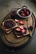 Strawberry Jam and toast on tray