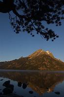 Sunrise on Teewinot Mountain and Jenny Lake in Grand Teton National Park