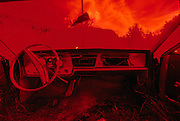 Abstract, impressionistic, abandoned car, Ontario, Canada