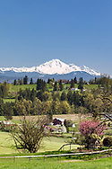 A view of Mount Baker (Komo Kulshan) from above farm fields in Abbotsford, British Columbia, Canada.