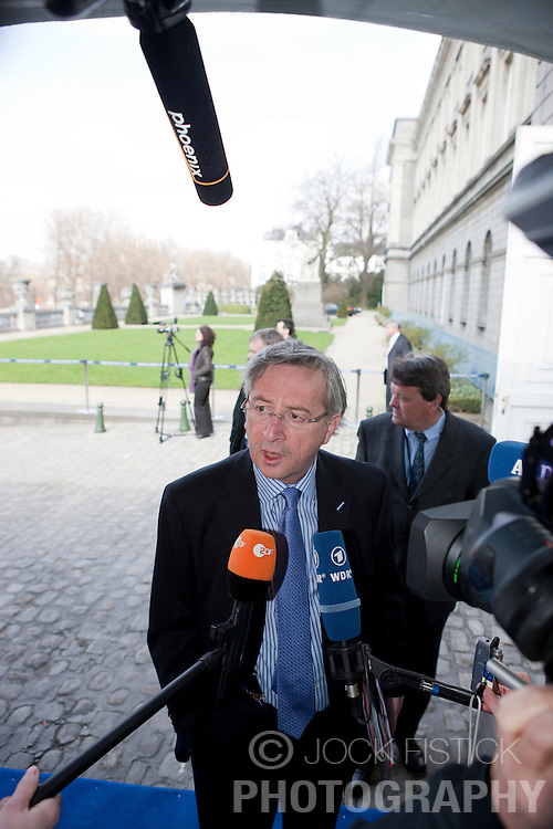 Jean-Claude Juncker, Luxembourg's prime minister, speaks to the press as he arrives for the European People's Party (EPP) meeting, Thursday, March 19, 2009, in Brussels, Belgium. (Photo © Jock Fistick)