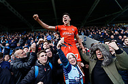 Wycombe Wanderers Luke O'Nien(17) celebrates promotion with Wycombe fans during the EFL Sky Bet League 2 match between Chesterfield and Wycombe Wanderers at the b2net stadium, Chesterfield, England on 28 April 2018. Picture by Paul Thompson.