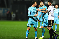 Florian Thauvin of Marseille and Hiroki Sakai of Marseille with Pierrick Capelle of Angers during the Ligue 1 match between Angers and Marseille at Stade Jean Bouin on December 22, 2018 in Angers, France. (Photo by Eddy Lemaistre/Icon Sport)