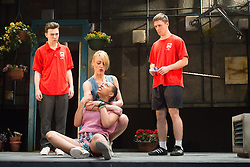 © Licensed to London News Pictures. 16/04/2013. Celebrating its twentieth anniversary year, and returning to the West End for limited 6 week season, the award winning Beautiful Thing comes to the Arts Theatre, London Featuring Suranne Jones, Zaraah Abrahams, Oliver Farnworth, Jake Davis and Danny-Boy Hatchard. Picture shows Jake Davies (Jamie),  Suranne Jones (Sandra) & Zaraah Abrahams (Leah & Danny-Boy Hatchard (Ste)). Photo credit: Tony Nandi/LNP