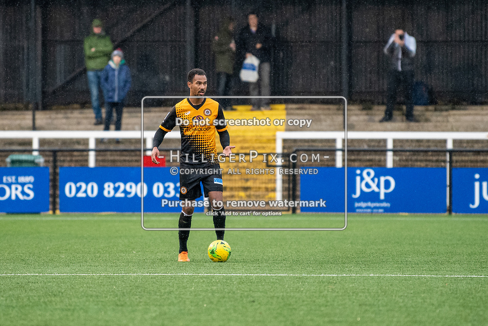 BROMLEY, UK - NOVEMBER 09: Mitchell Nelson, of Cray Wanderers FC, during the BetVictor Isthmian Premier League match between Cray Wanderers and Cheshunt at Hayes Lane on November 9, 2019 in Bromley, UK. <br /> (Photo: Jon Hilliger)