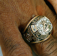 June 1999 Omaha, NE .left-heisman ring of Johnny Rodgers 1972 Heisman winner.Rodgers recently had his ring stolen November 15th at a grocery store in Omaha..(photo by Chris Machian/Prarie Pixel Group)