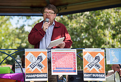 "© Licensed to London News Pictures;30/08/2020; Bristol, UK. TONY GOSLING (Ex BBC presenter turned truth seeker and speaker) speaks at a ""Stand Up Bristol"" protest rally by Stand Up X takes place in Castle Park. The event organisers say it is for truth and freedom. Many are against UK restrictions for coronavirus covid-19 and against lockdown. Some participants are against wearing masks and social distancing, and some either believe conspiracy theories that covid-19 is a hoax or that the virus is man made. Photo credit: Simon Chapman/LNP."